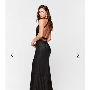 Black lace prom dress.
